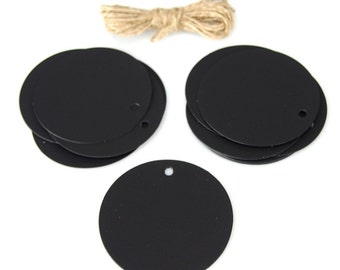 Chalkboard Circle Tags, 3-Inch, 20-Piece