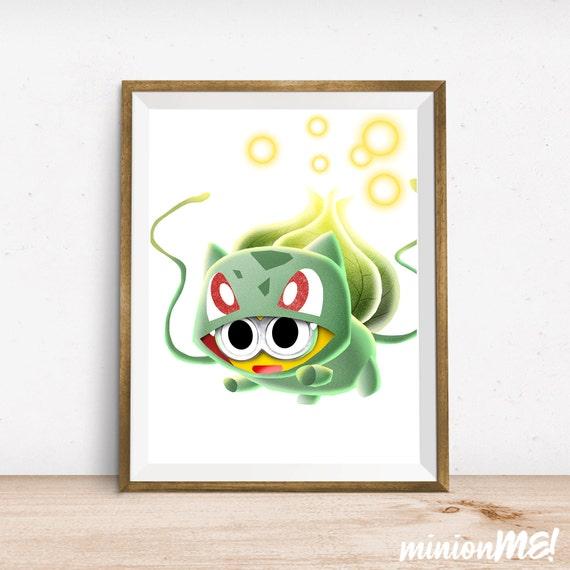 bulbasaur minion print pokemon character wall decor by