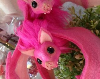 Posable Hot Pink Bat Art Doll - Hair clip