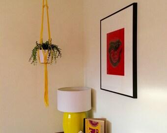 Yellow Medium/Large Macrame Plant Hanger / Hanging Macrame Planter