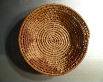 Vintage Hand Woven Coiled Basket Indigenous Traditional Folk Art