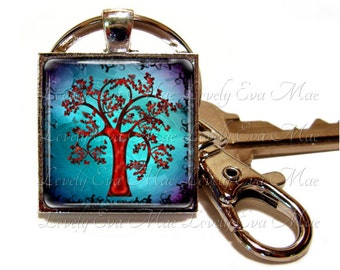 Tree Keychain with Clip, Key Fob with Clasp, Blue and Red Key Chain, Key Ring, Keyring, Tree of Life, Colorful Tree, Tree Key Fob