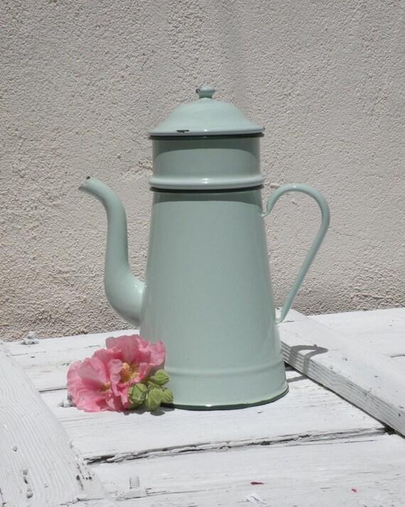 French vintage enamel duck egg blue cafétiere,  enamel coffee pot, large enamelware coffeepot, vintage French, antique country kitchen