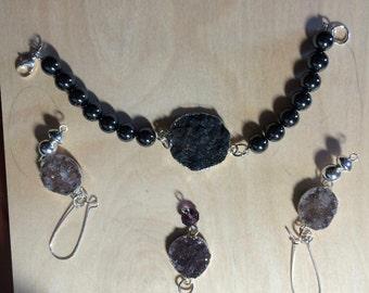 Druzy Quartz,Bracelet,necklace,earring set
