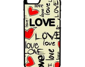 Love Hearts iPhone Galaxy Note LG HTC Hybrid Rubber Protective Case