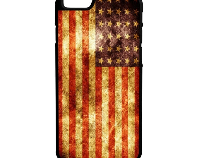 Grung American Flag iPhone Galaxy Note LG HTC Protective Hybrid Rubber Hard Plastic Snap on Case Black United States of America