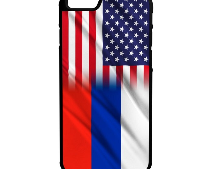 USA Russia Flag iPhone Galaxy Note LG HTC Hybrid Rubber Protective Case Russian