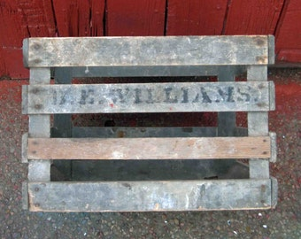 Vintage Wooden Orchard Crate,Marked On Side 18.H. Williams,Primitive,Rustic Wood,Apple Slotted Crate
