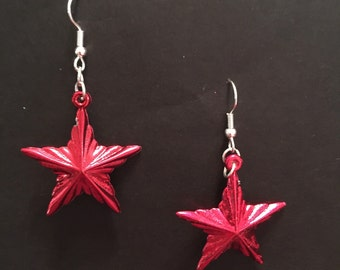 Red Star Ornament Earrings