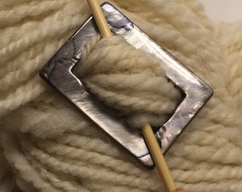 """Mother of Pearl Rectangular Shawl Pin """"Jetty"""" for Light Weight Knits"""