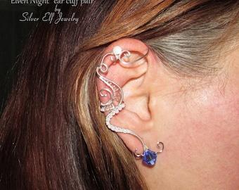 Elven Night ear cuff pair, no piercing earrings, Elf Earrings, Fantasy Earrings, wire ear cuff, elf ear cuff, Cosplay jewelry, blue jewelry