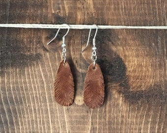 Hand Cut Leather Earrings - Bitty Feathers