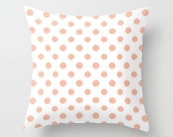 Girls Bedroom Decor, Peach Pillow Cover, Ikat Pillow, Velvet Cushion, Teen Girl Room Decor, Tween Girls, Dorm Room Decor, 22x22, 18x18