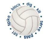 Volleyball Applique Machine Embroidery Digital Design Spike Serve Block Dig Set