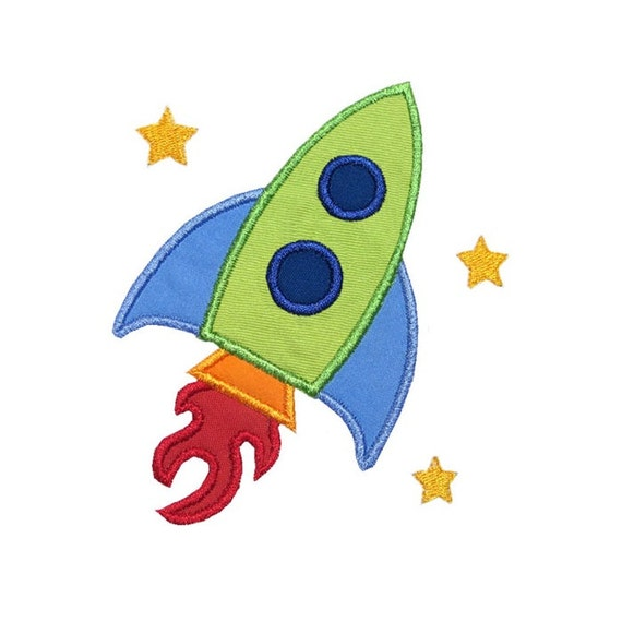 Rocket ship applique machine embroidery design space shuttle for Space embroidery patterns