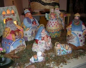 Nativity scene. Handmade ceramic.