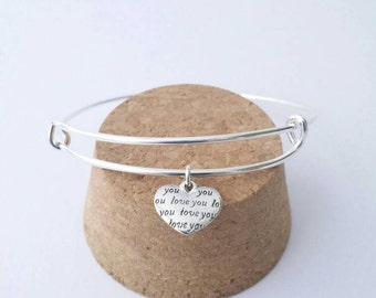 Love You silver heart charm bangle bracelet