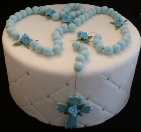 Cake Decoration Rosary Beads : First Communion Baby Boy Cake Topper Pink Rosary Cake