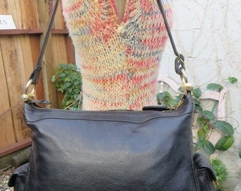 On Sale 1970s  Black Leather XL Large Hobo Bag Purse Tote Handbag Satchel Vintage 70s