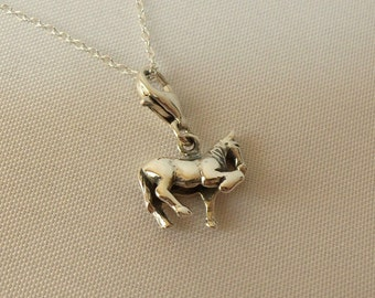 925 Sterling Silver Horse Charm Pendant Necklace.