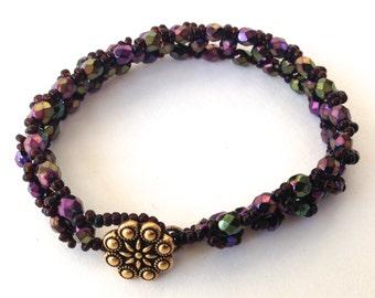 Purple Beadwork Bracelet, Small Bead Woven Bracelet, Handmade Beaded Jewelry Gift, Women's Colorful Boho Jewelry, Unique Gift for Women, Mom