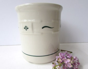 Longaberger Pottery Ceramic Crock -  Retired Woven Traditions Pattern in Green - Pottery Vase - Ivory and Green -