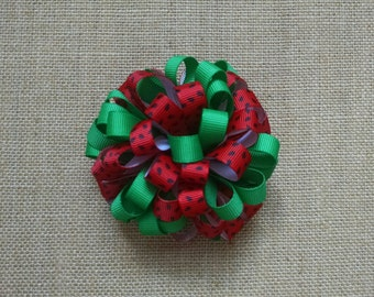 Watermelon Hairbow, Polka Dot Hairbow, Summer Hairbow, Girls Hair Accessory, Loopy Hairbow, Red and Black Bow, Red Hairbow, Loopy Hair Clip