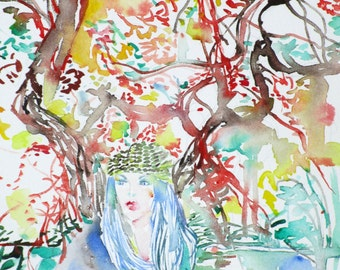 the AUTUMN/the GIRL/the TREE - original watercolor painting - one of a kind!