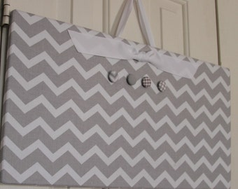 "Magnetic bulletin board - Fabric Magnet Board (12"" x 24"") grey chevron, Bulletin Board, command center, photo display, card display holder"