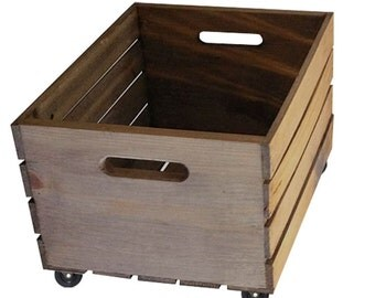 Rustic Wooden Crate on Wheels - Storage Crate Home Decor
