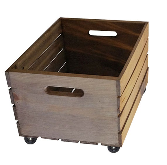 Rustic wooden crate on wheels storage crate home decor - Decorative wooden crates ...