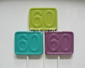 60th BIRTHDAY CHOCOLATE Lollipops*12 Count*60th Birthday Party Favor*60 Aged to Perfection*60th Anniversary Favor*60 Candy