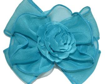 chiffon Barrette Bow With Rosette Design, Barrette Bow, Blue, Green, Orange Barrette Bow