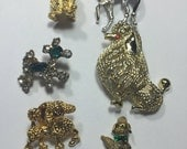 Lot of 6 Poodle Dog Pin Brooches ~ Poddles