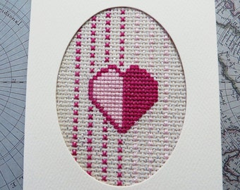 Handmade Cross Stitch Greeting Card,  Thinking of You, pink heart card