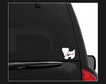 Morkie (Maltese / Yorkie) Love: Car Window Vinyl Decal - Laptop Sticker - Dog Breed Decals - Dog Stickers - Cooler Decal - Dog Lover Gift
