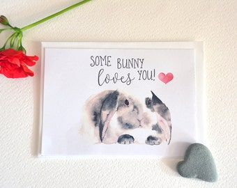 Watercolour Bunny - Printable Valentine's Day Card