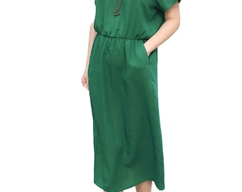 Fresh green round neck dress
