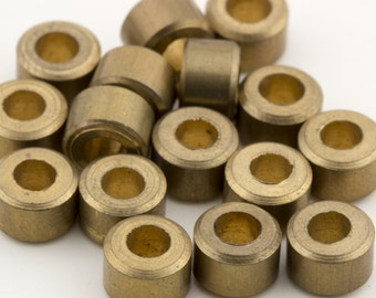 Vintage Brass Solid Metal Tube Beads  6x5mm 16pcs for Jewelry and Crafts 10207005