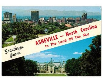 Greetings from Asheville North Carolina vintage postcard   Blue Ridge Mountains decor   1980s NC travel souvenir, Biltmore postcard