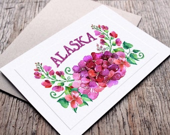 Watercolor Floral Pink Purple Hydrangea Alaska Greeting Card, Whimsical, Made In Alaska, Pretty Botanical