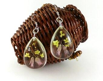 Blossom earrings Tender earrings Bird cherry earrings Tear drops Delicate earrings Floweret earrings Pressed flowers Garden earrings nature