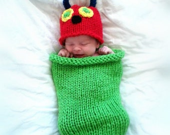 Hungry Caterpillar Cocoon and Hat, Knit Caterpillar Costume, Hungry Caterpillar Photo Prop, Hungry Caterpillar Baby Shower, Unisex Baby Gift