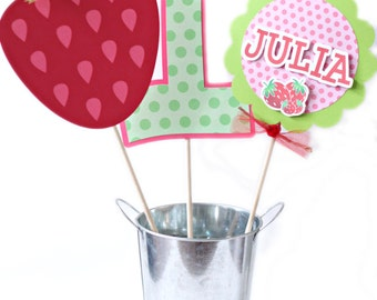 Strawberry Birthday Centerpiece - Strawberry Party Centerpiece Sticks - Strawberry Shortcake Party