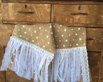 Burlap Table Runner with Lace, Ribbons & Pom Poms, Rustic Table Runner, Farmhouse Cottage Chic Table Decor, Handmade by LasmasCreations.