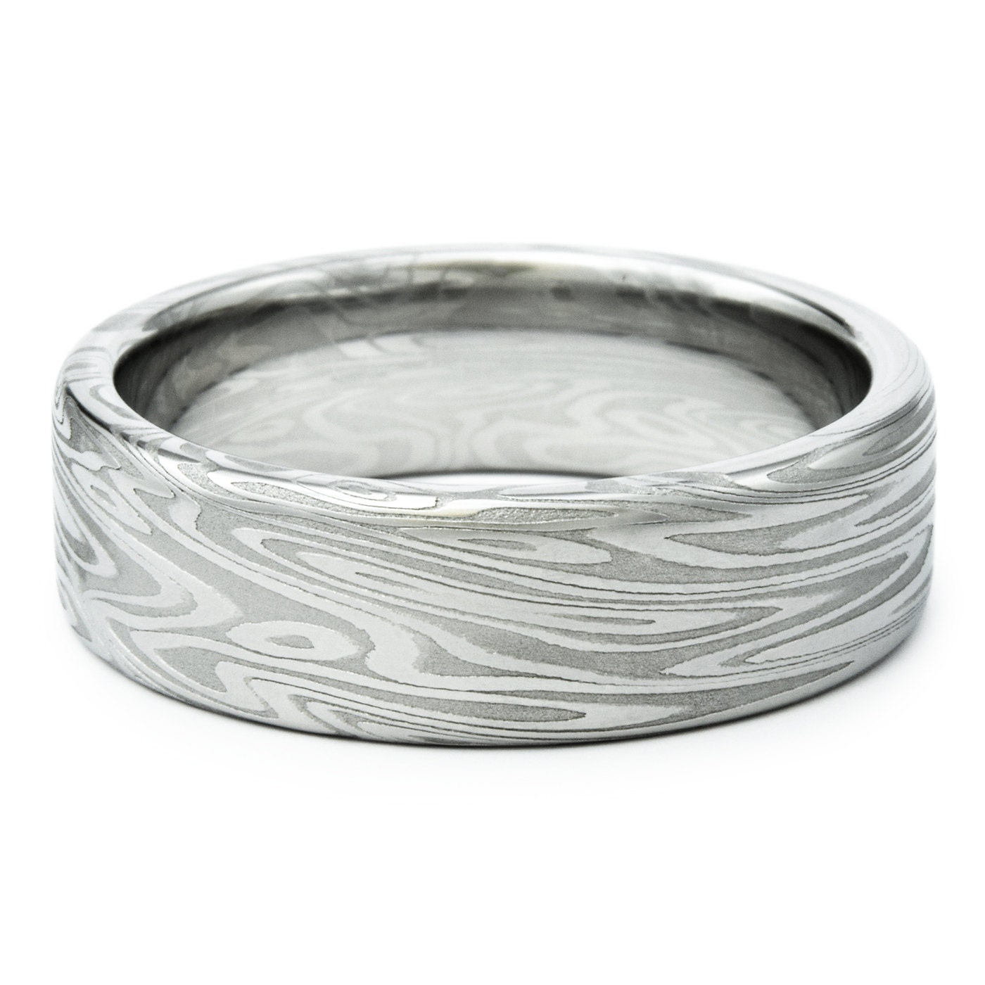 Damascus Ring Unique Men's Wedding Band Twisted Wood Grain