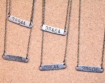 Zip Code Necklace - Personalized Hand Stamped Bar Necklace with Zip Code or initials of your choice -- Bridesmaids Gifts -