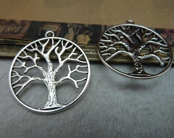 Life tree charms, Antique silver 33mm tree pendants, 10 pieces  ZB0 8058