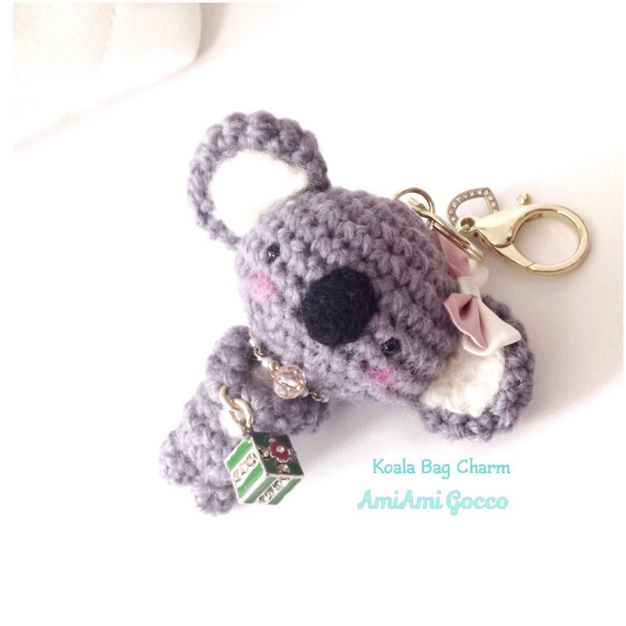 Amigurumi Koala Keychain : Handmade Crochet Bag Charm Crochet Koala Key Chain Amigurumi