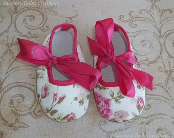 Floral Baby Shoes - Shabby Chic Pink Floral Ribbon Crib Shoes - Floral Baby Outfit - Hot Pink Baby Romper